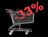 Shopping cart with 33 percent discount isolated on black backgro — Stock Photo