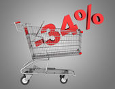 Shopping cart with 34 percent discount isolated on gray backgrou — Stock Photo
