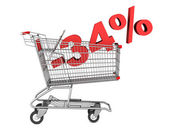 Shopping cart with 34 percent discount isolated on white backgro — Stock Photo