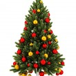 Decorated christmas tree isolated on white background — Stock Photo