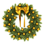 Ornate christmas wreath isolated on white background — Foto Stock