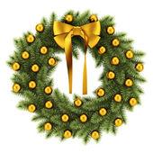 Ornate christmas wreath isolated on white background — ストック写真