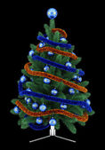 Decorated christmas tree isolated on black background — Stock Photo