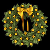 Ornate christmas wreath isolated on black background — Photo