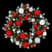 Ornate christmas wreath isolated on black background — Foto Stock