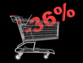 Shopping cart with 36 percent discount isolated on black backgro — Stock Photo