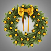 Ornate christmas wreath isolated on gray background — ストック写真