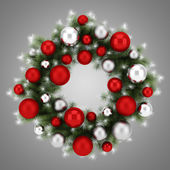 Ornate christmas wreath isolated on gray background — Stock Photo