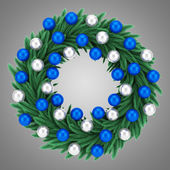 Ornate christmas wreath isolated on gray background — Stockfoto