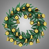 Ornate christmas wreath isolated on gray background — 图库照片