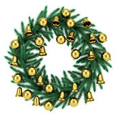 Ornate christmas wreath isolated on white background — Stock Photo