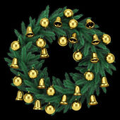 Ornate christmas wreath isolated on black background — Stock Photo