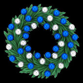 Ornate christmas wreath isolated on black background — Stock Photo