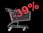 Shopping cart with 39 percent discount isolated on black backgro — Stock Photo