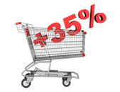 Shopping cart with plus 35 percent sign isolated on white backgr — Stock Photo