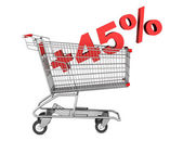 Shopping cart with plus 45 percent sign isolated on white backgr — Stock Photo