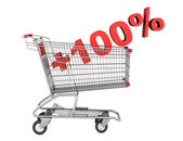Shopping cart with plus 100 percent sign isolated on white backg — Stock Photo