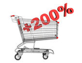 Shopping cart with plus 200 percent sign isolated on white backg — Stock Photo