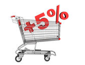 Shopping cart with plus 5 percent sign isolated on white backgro — Stock Photo