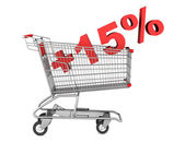 Shopping cart with plus 15 percent sign isolated on white backgr — Stock Photo