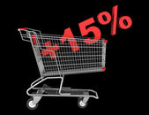 Shopping cart with plus 15 percent sign isolated on black backgr — Stock Photo
