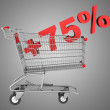 Shopping cart with plus 75 percent sign isolated on gray backgro — Stock Photo
