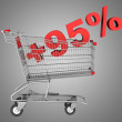 Stock Photo: Shopping cart with plus 95 percent sign isolated on gray backgro