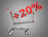 Shopping cart with plus 20 percent sign isolated on gray backgro — Stock Photo