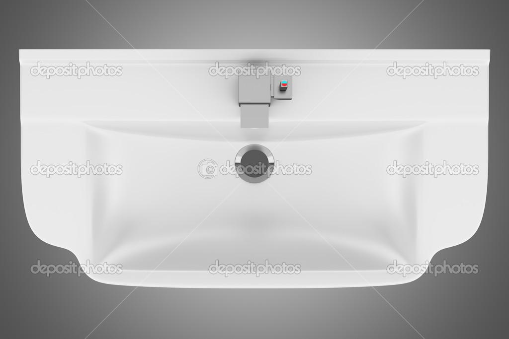 Vista superior da pia do banheiro cerâmica isolada em fundo cinza — Fotografi -> Pia De Banheiro Em Vista