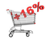 Shopping cart with plus 16 percent sign isolated on white backgr — Stock Photo