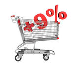 Shopping cart with plus 9 percent sign isolated on white backgro — Stock Photo