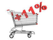 Shopping cart with plus 11 percent sign isolated on white backgr — Stock Photo