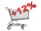 Shopping cart with plus 12 percent sign isolated on white backgr — Stock Photo