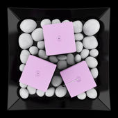 Top view of three purple candles on dish isolated on black backg — Stock Photo
