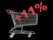 Shopping cart with plus 11 percent sign isolated on black backgr — Stock Photo