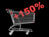 Shopping cart with plus 150 percent sign isolated on black backg — Stock Photo