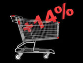 Shopping cart with plus 14 percent sign isolated on black backgr — Stock Photo
