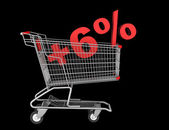 Shopping cart with plus 6 percent sign isolated on black backgro — Stock Photo