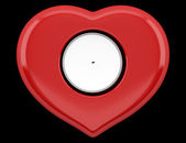 Top view of red heart-shaped candlestick with candle isolated on — ストック写真