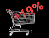 Shopping cart with plus 19 percent sign isolated on black backgr — Stock Photo