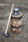 Blacksmith hammer and coinage tool — Stock Photo