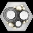 Top view of glass candlesticks with candles on tray isolated on — Stock Photo #43264173