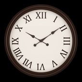Vintage round wall clock isolated on black background — 图库照片
