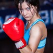 Stock Photo: Young and fit female fighter posing in combat poses