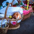 Easter basket with food in Orthodox Church. — Stock Photo #13276406
