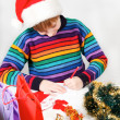 Beautiful boy writes letter to SantClaus — Stock Photo #13276622