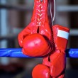A pair red boxing gloves hangs off ring - Stock Photo
