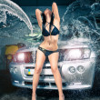 Stock Photo: Model at car wash in garage. Cross processing