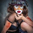 Portrait scary monster clown — Stock Photo