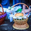Easter basket with food in Orthodox Church. — Stock Photo #13276800